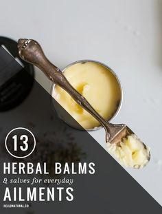 13 recipes for home made herbal salves and balms- love this resource!