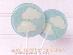 Cloud Baby Shower Lollipops, Baby Shower Favors, Clouds, Light Blue Lollipops, Candy Lollipops, Candy, Party Favors, SIX LOLLIPOPS