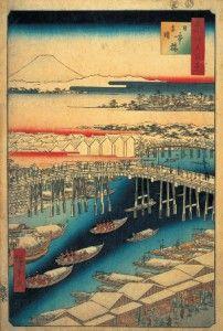 Nihonbashi bridge in Edo-Tokyo by Utagawa Hiroshige, 1856 歌川広重「名所江戸百景 日本橋雪晴」