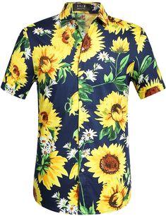 4dbeba95c SSLR Men's Summer Sunflower Button Down Short Sleeves Hawaiian Shirt  #sunflower #hawaiian shirt Mens