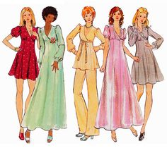 "1972 Junior Petite Wardrobe, Surplice Neckline, Maxi/Cocktail Dress, Flared Skirt, Tunic, Pants, Butterick 6880, Sz 11, Bust 34"", Uncut"