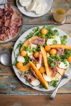 Melon, mozzarella & parma ham salad with a honey & mustard vinaigrette recipe #salad #recipe