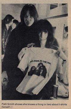 Patti Smith (holding an Mc5 t-shirt) and Fred Sonic Smith, Rock Scene Magazine, 1977