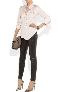 Balmain | Cropped leather skinny pants  | NET-A-PORTER.COM