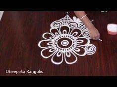easy rangoli design II free hand kolam II sankranthi muggulu - YouTube