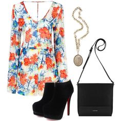 floral jumpsuit by arahmarina on Polyvore featuring polyvore fashion style Calvin Klein Olivia Collings Antique Jewelry