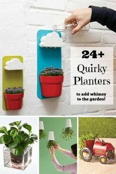 There are so many weird and wonderful planters that I never imagined. Like a round plant pot inside a clear, square fish bowl so you can see fish swimming around the roots of your plants. Or upside-down planters that defy gravity. How about a cloud wall planter that rains to water the plants below? There are too many to list here #garden #ad #ebay