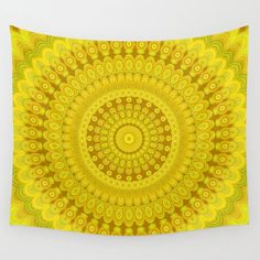 Sunflower Circle Mandala Wall Tapestry by Mandala Magic by David Zydd - Small: x Handmade Wall Hanging, Hanging Wall Art, Wall Hangings, Geometric Flower, Flower Mandala, Mandala Tapestry, Wall Tapestry, Pink Garden, Mandala Coloring
