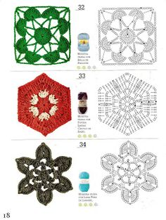 175 Pattern for Crochet Flowers Stitches Easy Motifs Granny Square, Crochet Square Patterns, Crochet Diagram, Crochet Motif, Crochet Stitches, Crochet Cord, Crochet Stars, Crochet Flowers, Diy Crafts Crochet
