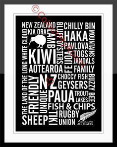 CELEBRATE NEW ZEALAND Subway Style Printable Home Wall Art Print Kiwi All Blacks Rugby Aotearoa Instant Download on Etsy, $5.00
