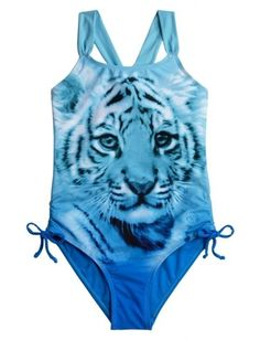 8d54406cfd Nwt justice girls tiger one piece swimsuit girls 12 bathing suit blue