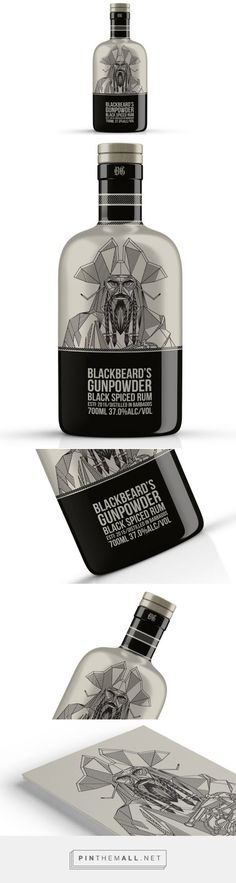 Blackbeard's Gunpowder #Rum #packaging designed by Corn Studio​ - http://www.packagingoftheworld.com/2015/06/blackbeards-gunpowder-rum.html