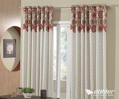 Charmosa e elegante, é assim que a sua sala irá ficar com a cortina Tais da Döhler Têxtil!