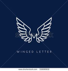 Letter M with wings. Template for logo, label, emblem, sign, stamp. Vector illustration.