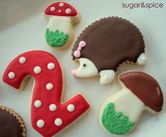 Woodland party favors - Hedgehogs, Mushrooms, Numbers - 12 rolled sugar cookies., via Etsy.