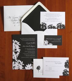 charcoal and white wedding invitation suite with modern floral design - photo of wedding invitations designed by Brown Sugar Designs