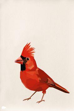 Red Cardinal Geometric Minimal Bird