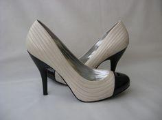 BCBGirls Womens Shoes Pumps 9.5 Leather Two-Tone White Black $7 @New and Deja Vu Fashion #bonanza store