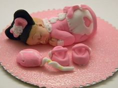 Fondant Baby girl  Mouse cake topper by anafeke on Etsy, $15.00