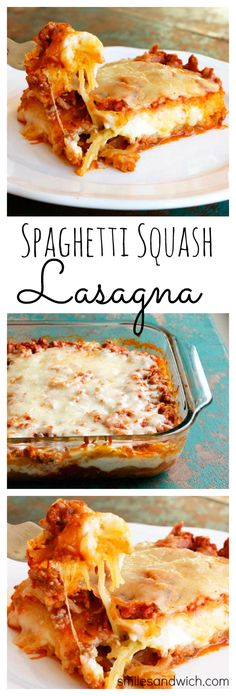 Spaghetti Squash Lasagna with Turkey Meat Sauce - this lightened up lasagna recipe is one of my new favorite dinners ... ever. Everyone LOVED it! (Spaghetti Squash Recipes)