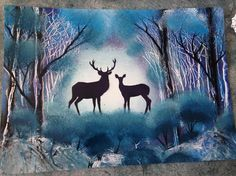 Deer in Forest spray paint art