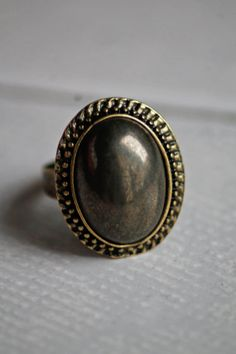 Anello vintage retrò regolabile con pietra di DIYGIOIELLIePIETRE, €8.00  Vintage ring made by hand with cabochon gemstone Pyrite