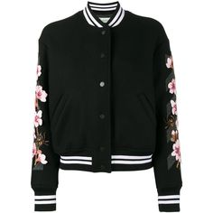 Off-White floral embroidered varsity jacket (6.485 BRL) ❤ liked on Polyvore featuring outerwear, jackets, black, flower print jacket, floral jacket, floral embroidered jacket, varsity jackets and embroidered jacket