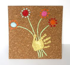 Do your kids like handprint art? Here's a fun spin on it: Fun Kids Handprint Art on Cork Could use buttons for flower petals. Mothers Day Crafts For Kids, Great Mothers Day Gifts, Children Crafts, Projects For Kids, Art Projects, Footprint Art, Handprint Art, Arts And Crafts, Diy Crafts
