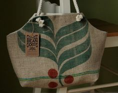 Recycled Burlap Coffee Sack bag.