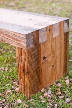 I really like this rough-hewn look. My Doug Fir pieces might be big enough for a bench like this! #woodworkingbench