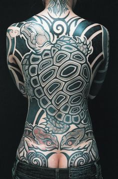 Large turtle and chameleon tribal blackwork backpiece