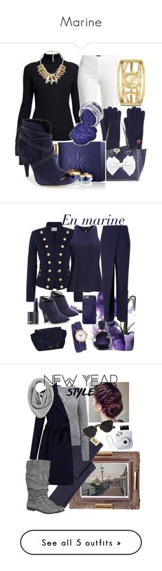 """Marine"" by marthecha ❤ liked on Polyvore featuring Rumour London, Basler, Valentino, Guerlain, Vince Camuto, Nine West, Pierre Balmain, 2nd Day, Rejina Pyo and Jimmy Choo"