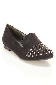Jojo-06 Suede Flat With Spikes In Black