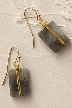 Anthropologie EU Wrapped Quartz Earrings. Smoky quartz is elegantly wrapped and knotted by shimmering strands. A most sophisticated addition to jewellery boxes.