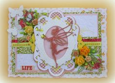 Card made by DT member Nadège with among others Creatables Fairy (LR0323) and Oval Frame (LR0293) by Marianne Design