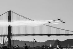 https://flic.kr/p/dhGPkh | Blue Angels Over the Golden Gate | The Blue Angels make a low pass in formation over the bridge.  San Francisco Fleet Week Air Show October 6, 2012