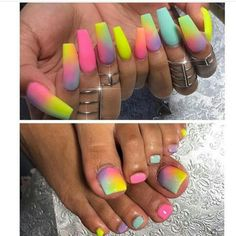 COOL rainbow ideas | ombre nail art | unas | toe nail art @badgalronnie