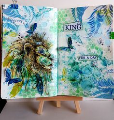 Art journal spread using the majestic Lion Pink Ink Designs stamp set xx Cat Cards, Ink Stamps, Hobbies And Crafts, Die Cutting, Art Journaling, Journal Ideas, Mixed Media Art, Stamping, Paper Crafts
