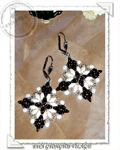 Loretta beaded earrings PDF pattern por Ewagyongyosvilaga en Etsy
