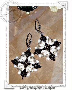 Loretta beaded earrings PDF pattern por Ewagyongyosvilaga en Etsy