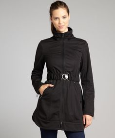 Laundry by Shelli Segal black woven fleece-lined soft shell trench coat