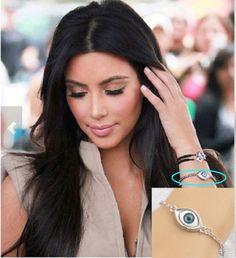 Celebrity Inspired Blue Evil Eye Silver Bracelet