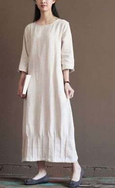 Nude Linen Spring Dress 2016 New Linen Maxi Dresses Plus Size Linen Clothes - Everything you are looking Casual Summer Dresses, Trendy Dresses, Spring Dresses, Dress Summer, Loose Dresses, Dress Casual, Summer Sundresses, Sun Dresses, Flowing Dresses
