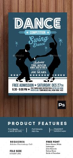 Swing Dance Competition Poster Flyer Photoshop PSD Winter Snow O Available Here