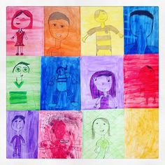 Ejercicios monocromáticos de autorretratos que hicieron mis alumnos de 4to de Primaria en clases de #arte 💜