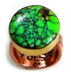 "Turquoise Love ring: 14k. rose gold ""freedom band"" and 18k. bezel/turquoise."