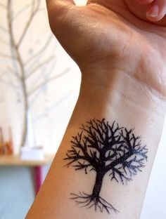 Simple Black Tree Tattoos .