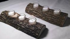 Set of 2 Rustic Log Candle Holder, Rustic Wedding Decorations, Rustic Home Decor, Votive Candle Holder