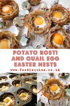 Potato Rosti and Quail Egg Easter Nests | Foodie Quine - Edible Scottish Adventures Breakfast Bites, Breakfast Recipes, Quail Eggs, Mini Eggs, Syn Free, Nests, Easter Recipes