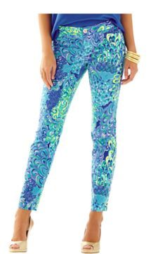Kelly Ankle Length Skinny Pant - Lilly Pulitzer Sea Blue Lillys Lagoon